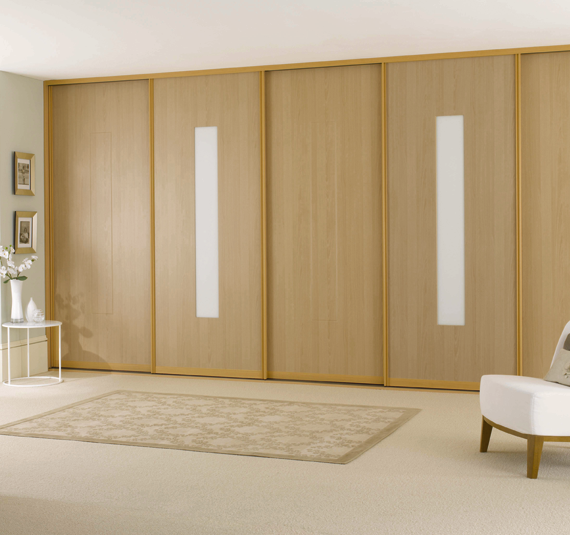 fitted sliding wardrobe doors beech wood white glass bedroom