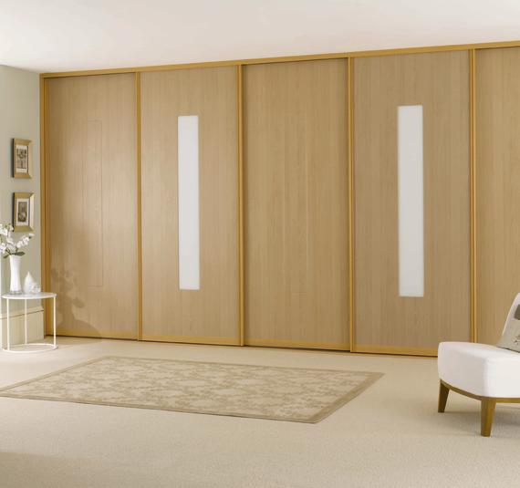 fitted sliding wardrobe doors beech wood white glass bedroom